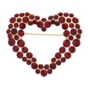 Dana Buchman Red Simulated Stone Heart Pin