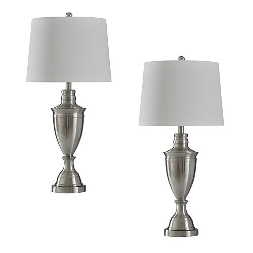 Style Craft Brushed Steel Table Lamp 2-piece Set
