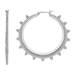Simply Vera Vera Wang Jet Tone Bead Embellished Hoop Earrings