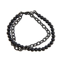 Simply Vera Vera Wang Men's Black Agate Bead & Gunmetal Chain Bracelet