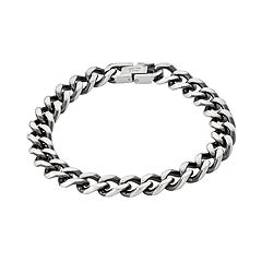 Simply Vera Vera Wang Men's Black Stainless Steel Curb Chain Bracelet