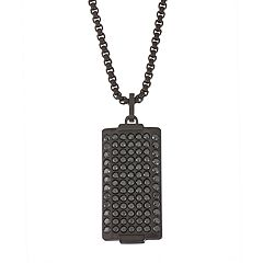 Simply Vera Vera Wang Men's Black Stainless Steel Black Cubic Zirconia Dog Tag Necklace
