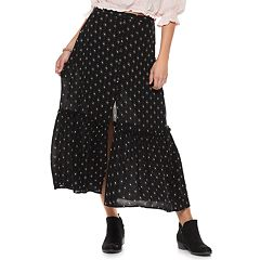 Juniors' Mudd® Geometric Button Front Midi Skirt