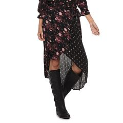 Juniors' Mudd® Floral & Geometric Wrap Front Midi Skirt