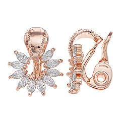 Napier Cubic Zirconia Starburst Clip-On Earrings