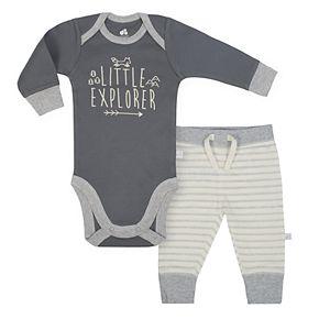 "Baby Boy Just Born Organic ""Little Explorer"" Bodysuit & Striped Pants Set"