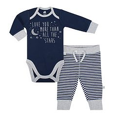 Baby Boy Just Born Organic 'Love You More Than All The Stars' Bodysuit & Striped Pants Set