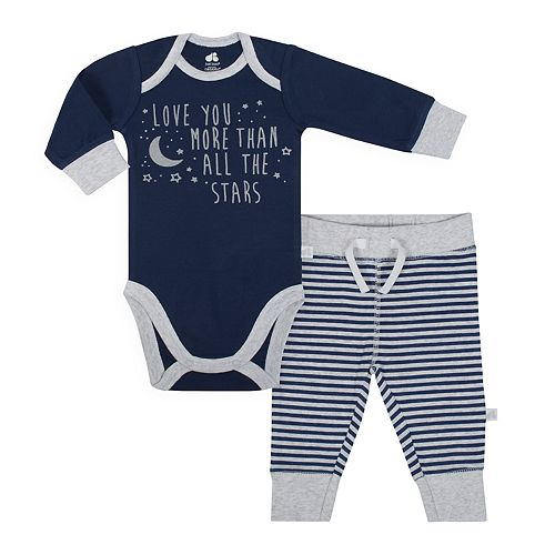 "Baby Boy Just Born Organic ""Love You More Than All The Stars"" Bodysuit & Striped Pants Set"