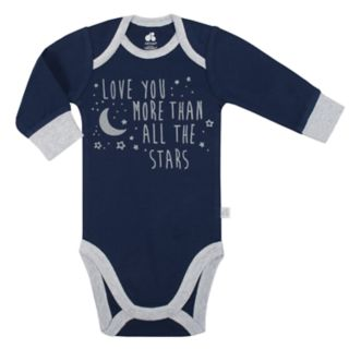 """Baby Boy Just Born Organic """"Love You More Than All The Stars"""" Bodysuit & Striped Pants Set"""