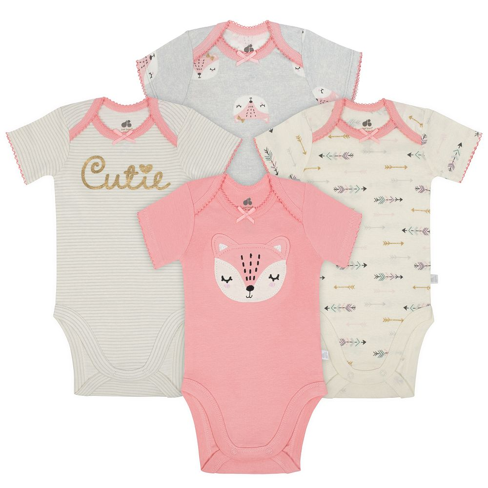 Baby Girl Just Born Organic 4-pack Fox & Print Bodysuits