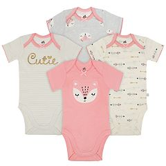 Baby Girl Just Born Organic 4-pack Fox & Print Bodysuits