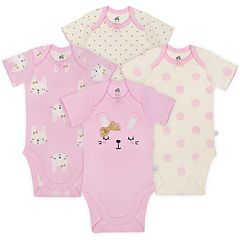 Baby Girl Just Born Organic 4-pack Bunny & Dot Bodysuits