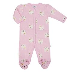 Baby Girl Just Born Organic Bunny Print Sleep & Play