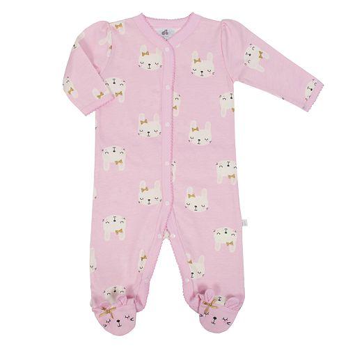 Baby Girl Just Born Organic Bunny Print Sleep & Play