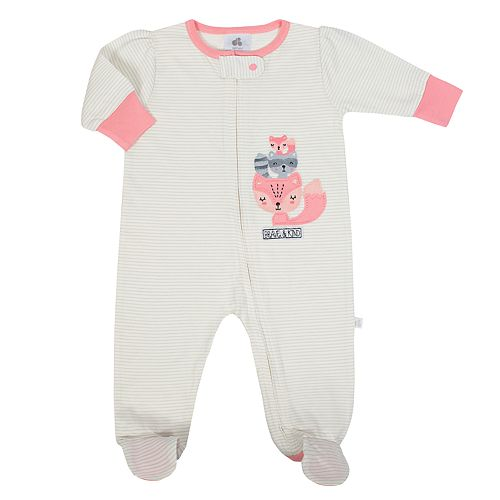Baby Girl Just Born Organic Striped Fox Sleep & Play