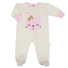 Baby Girl Just Born Organic Embroidered Bunny Sleep & Play