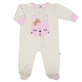 Baby Girl Just Born Organic Embroidered Bunny Sleep & Play