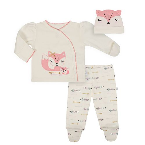 Baby Girl Just Born Organic Fox Kimono Top, Arrow Pants & Hat Set