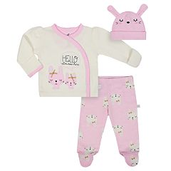Baby Girl Just Born Organic 'Hello I'm New Here' Kimono Top, Bunny Pants & Hat Set