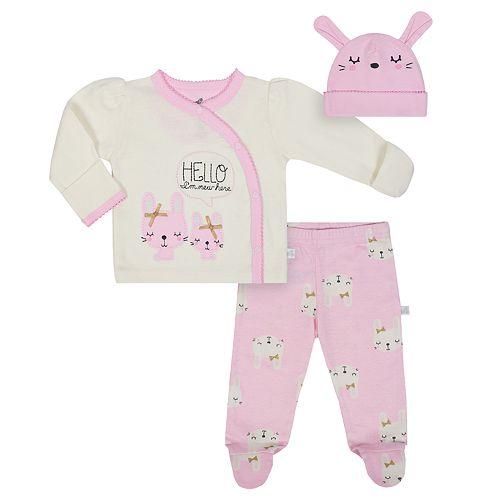 "Baby Girl Just Born Organic ""Hello I'm New Here"" Kimono Top, Bunny Pants & Hat Set"