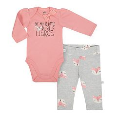 Baby Girl Just Born Organic Fox Bodysuit & Pants Set