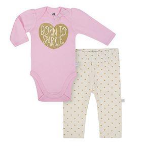 "Baby Girl Just Born Organic ""Born To Sparkle"" Glittery Bodysuit & Heart Pants Set"