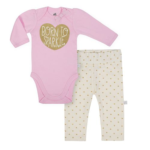 "Baby Girl Just Born Organic ""Born To Sparkle"" Glittery Bodysuit & Heart Pants Set"