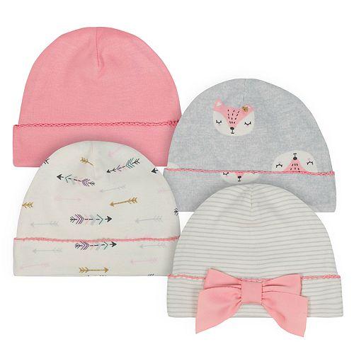 Baby Girl Just Born Organic 4-pack Fox & Arrow Cuffed Hats