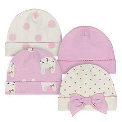 Baby Girl Just Born Organic 4-pack Bunny & Dot Cuffed Hats