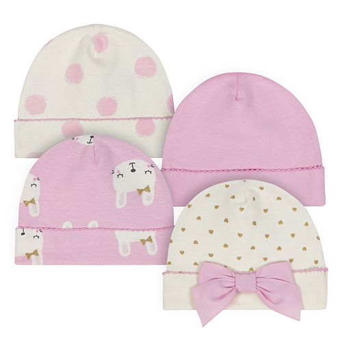 Baby Girl Just Born Organic 4-pack Bunny & Dot Cuffed Hats