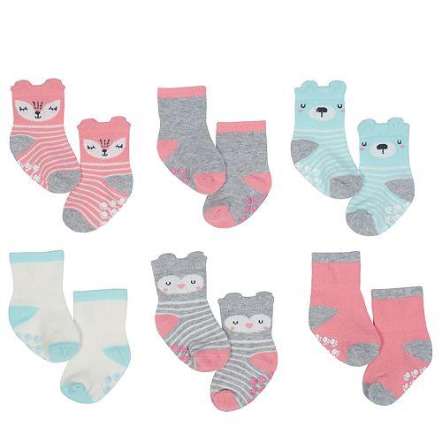 Baby Girl Just Born 6-pack Fox & Colorblock Non-Skid Crew Socks