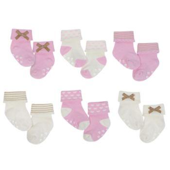 Baby Girl Just Born 6-pack Heart & Bow Non-Skid Crew Socks
