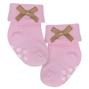 Baby Girl Just Born 6-pack Heart & Bow Non-Skid Crew Socks
