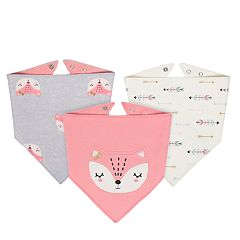Baby Girl Just Born 3-pack Fox Handkerchief Bibs