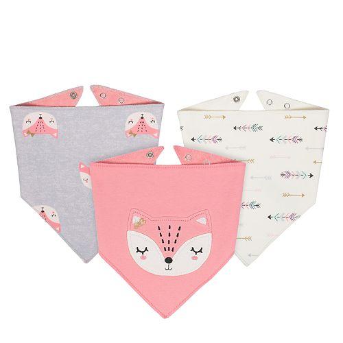 Baby Girl Just Born 3-pack Fox Handkerchief Bibs