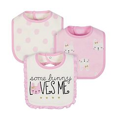 Baby Girl Just Born 3-pk. Bunny Bibs