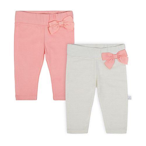 Baby Girl Just Born Organic 2-pack Solid & Stripe Bow Leggings