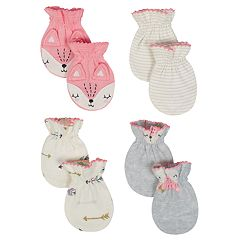 Baby Girl Just Born Organic 4-pack Fox & Arrow Mittens