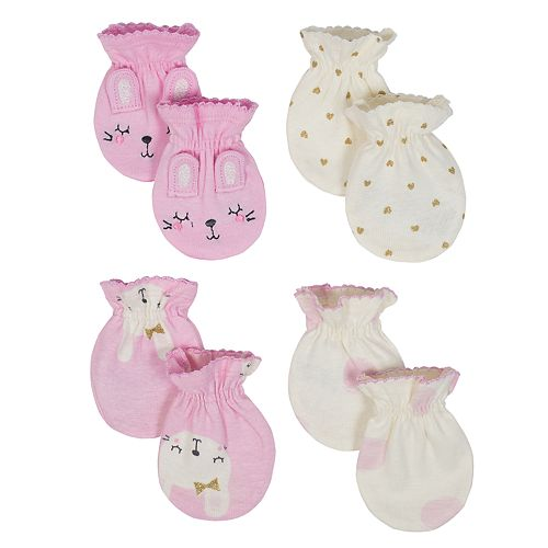 Baby Girl Just Born Organic 4-pack Mitts