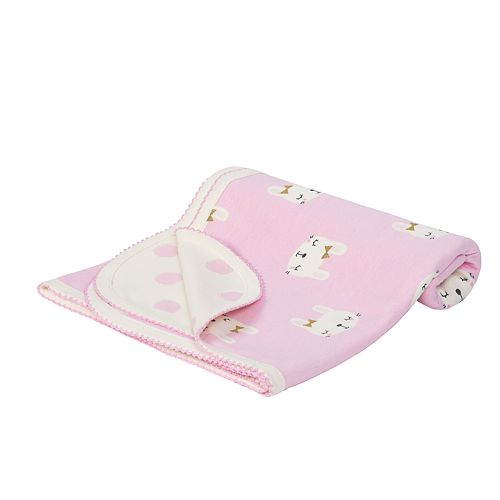 Baby Girl Just Born Organic Reversible Bunny & Polka-Dot Swaddle Blanket
