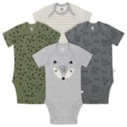 Baby Boy Just Born Organic 4-pack Fox-Themed Bodysuits