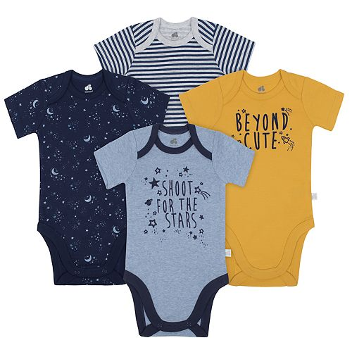 Baby Boy Just Born Organic 4-pack Outer Space Bodysuits