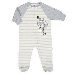 Baby Boy Just Born Organic Embroidered Fox Sleep & Play