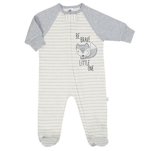 Baby Boy Just Born Organic Embroidered Fox Sleep & Play