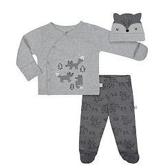 Baby Boy Just Born Organic Fox Kimono Top, Pants & Hat Set