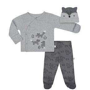 Baby Boy Just Born Organic Fox Kimono Top, Pants & Hat Set