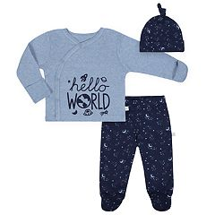 Baby Boy Just Born Organic 'Hello World' Kimono Top, Space Print Pants & Hat Set