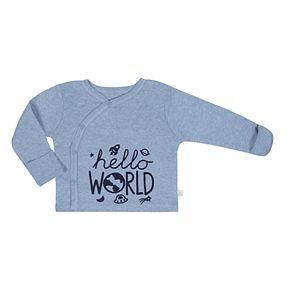 "Baby Boy Just Born Organic ""Hello World"" Kimono Top, Space Print Pants & Hat Set"