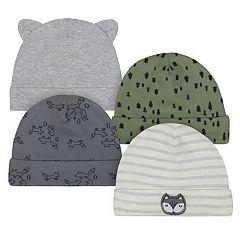 Baby Boy Just Born Organic 4-pack Fox-Themed Hats