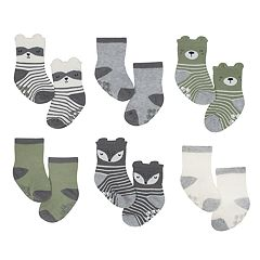 Baby Boy Just Born 6-pack Fox & Colorblock Non-Skid Crew Socks